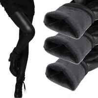 2015 Hot Women Thickening Faux Leather Leggings Fashion Sexy Warm Winter Boots Pants Shiny Footless Trousers