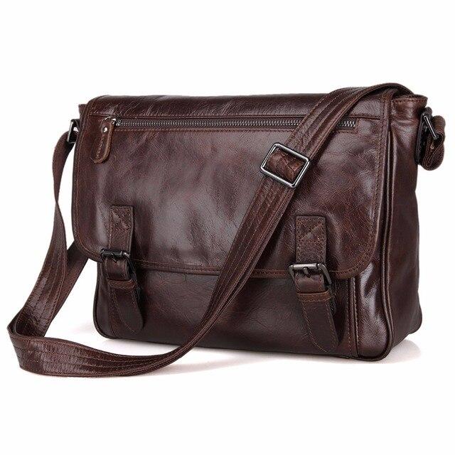 J.M.D Tanned Leather Men's Shoulder bag Vintage Messenger Bag Crossbody Bag 7022Q
