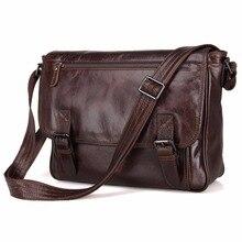 สีแทนหนังผู้ชายกระเป๋าสะพายกระเป๋าวินเทจของMessenger C Rossbodyกระเป๋า7022Q