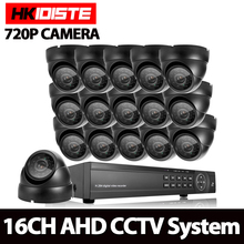 HKIXDISTE CCTV System 16CH DVR Kit 16Ch AHD 1080P DVR 16*1.0MP 2000TVL Indoor Dome Security CCTV Camera Video Surveillance set