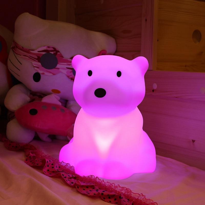 Polar Bear LED Night Light Swivel Dimmable Novel Gift for Kids Sleeping Warm White Baby Lamp Silicone Indoor Decoration Light - 4