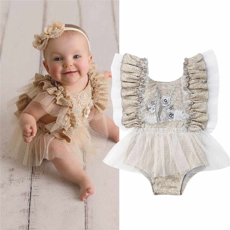 Princess Baby Girls Lace Bodysuit Newborn Ruffle Fly Sleeve Jumpsuit Backless Tulle Tutu Bodysuit Skirt Baby Girl Clothes 0-24M