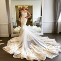 Luxury Vintage Mermaid Wedding dresses 2016 Sexy Asymmetrical neckline Lace Vestido de Noiva Robe de Mariage Royal train Custom