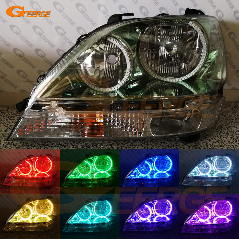 For Lexus RX300 RX 300 1999 2000 2001 2002 2003 headlight Excellent Multi-Color Ultra bright illumination RGB LED Angel Eyes kit angel 300
