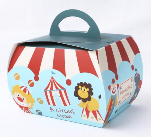 10pcs cute circus animal baking packaging christmas cookies boxchocolatecandy paper boxes wedding