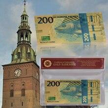 WR Norway 200 Kroner, новинка 2017, золотые банкноты, новогодние подарки, цветная Золотая фольга, norwean Bill с рамкой COA для коллекции