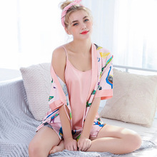 купить Daeyard Women Silk Pajama Sets 2019 New Spring Summer Cami Shorts And Robe 3 Pieces Pyjamas Sets Sleepwear Animal Floral Pijamas по цене 1086 рублей
