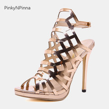 2019 women summer sexy Rome ankle strap sandals buckle super high stilettos 13cm metal Italy style runway ladies gladiator shoes