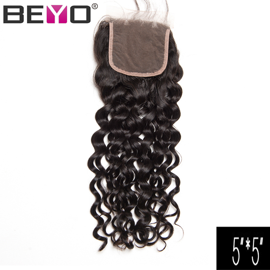 Beyo 5x5 Closure Brazilian Water Wave Closure Three Free Middle Part Human Hair Closure With Baby