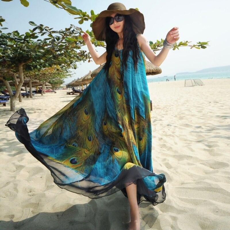 Women Maxi Party Dress Summer Boho Long Beach Chiffon Peacock Tail Pattern Sun-proof Dress