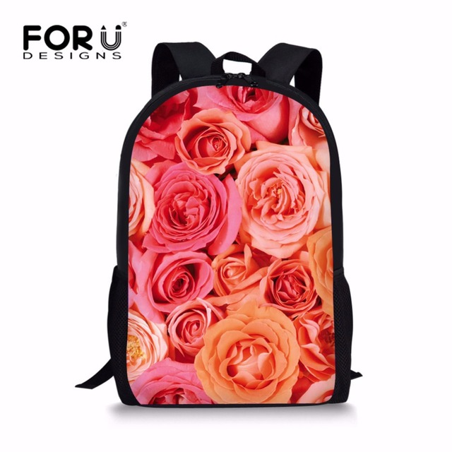 58f859856e FORUDESIGNS Pretty Floral Style Backpack for School Girls Beautiful Flower  Rose Primary Kids Bagpack Unique Children Back Packs