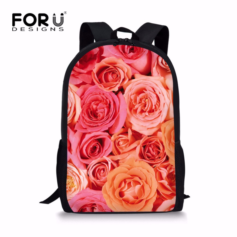 FORUDESIGNS Pretty Floral Style Backpack for School Girls Beautiful Flower Rose Primary Kids Bagpack Unique Children Back Packs ...