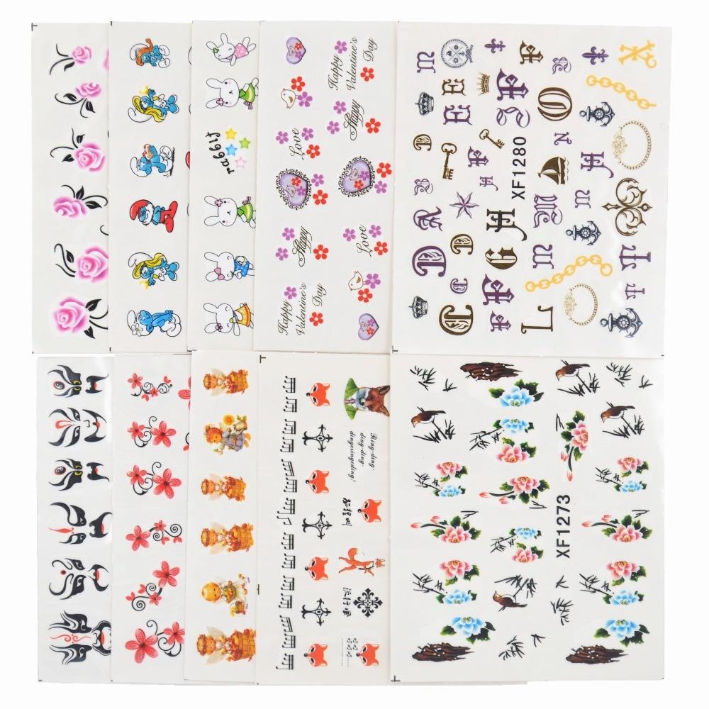 50 Hojas De Estilos Mixtos Marca De Agua Arco Dibujos Animados Pegatinas Arte Uñas Agua Transferencia Consejos Pegatinas Belleza Tatuajes Temporales