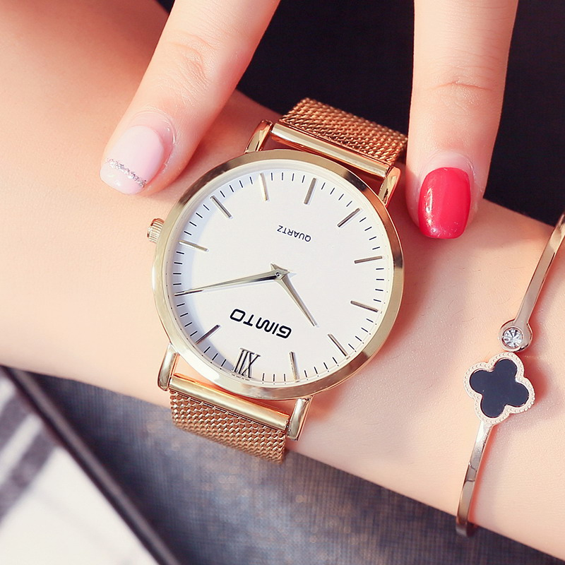 GIMTO Brand Women Watches Steel Female Creative Quartz Watch Luxury Gold Ladies Wristwatch Lovers Clock Montre