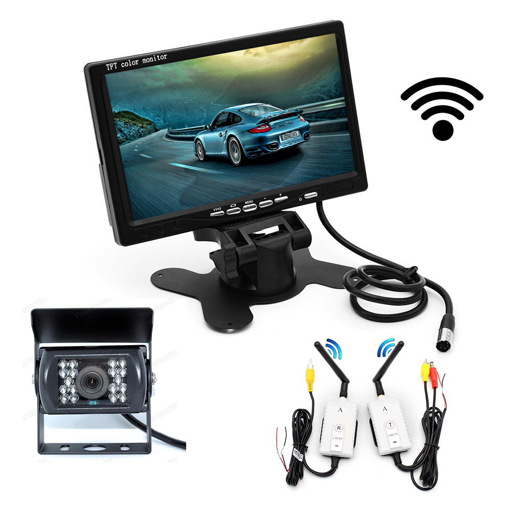 wireless 7 Inch TFT LCD car Monitor 2 video input Display for bus truck with 18 LED night vision rear view camera 12-24V
