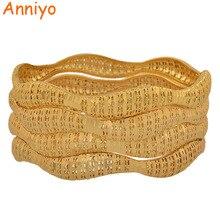 Anniyo 4Pieces/Lot Wholesale Arab Bangle Ethiopian Gold Color Bracelets Middle East Dubai Luxury Wedding Jewelry African #086406