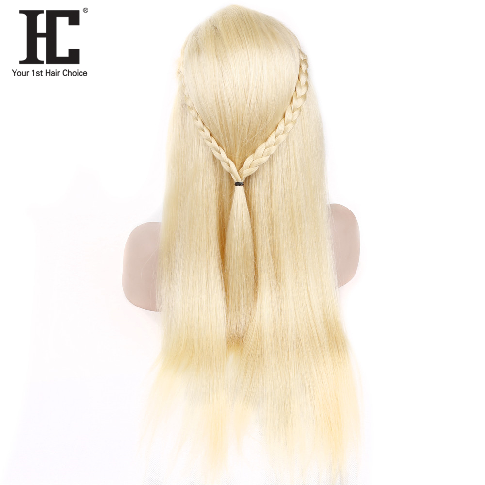 HC 613 Blonde Lace Front Wig Brazilian Straight Human Hair Wigs Pre Plucked Natural Hairline Remy