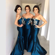 2016 Navy Blue Appliques Bridesmaid Dresses Sweetheart Teffeta Mermaid Floor-Length De Casamento Robe Demoiselle D'honneur