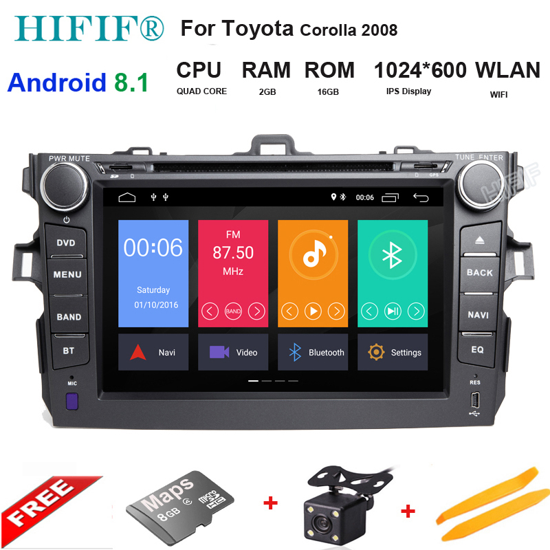 IPS 8 2 Din Android Car Radio Central Multimedia For Toyota Corolla 2007~2011 Automagnitol DVD Player With GPS Bluetooth