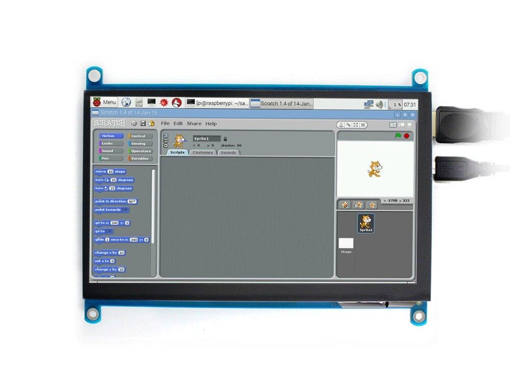 Waveshare 7 pouce HDMI LCD (H) écran d'ordinateur 1024x600 IPS Capacitif Tactile Écran Supporte Framboise Pi BB Noir Banane Pi etc