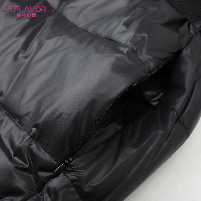 Женские теплые облегающие пуховики S.FLAVOR, верхняя одежда с меховым воротником и капюшоном, узкое пальто средней длины, зимняя парка без пояса