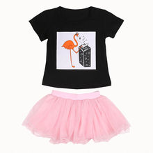 2017 New Newborn Summer Toddler Infant Baby Girl Outfit Sets Clothes T-shirt Tops tutu Short Mini Skirt 1-5Y