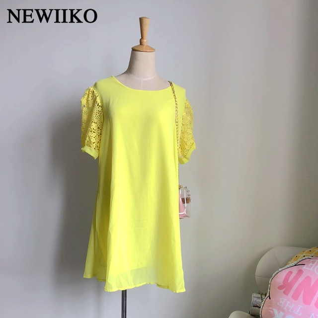 Fashion new women spring summer big size chiffon lace stitching short sleeve solid color mini lady casual dress