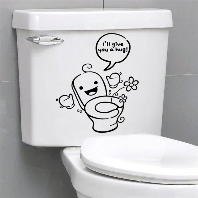 Cartoon Creative Vinyl Toilet Wall Decals Ill Give You A Hug Quotes