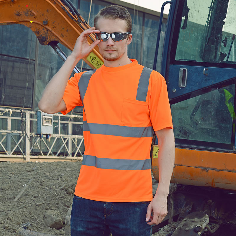 цена на Safety Reflective Shirt fluorescent orange t-shirt with short sleeves breathable fabric for safety work outdoor