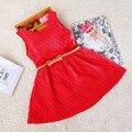 Niñas bebés Vestido de Encaje Princesa de Las Muchachas Del Vestido Floral Del Verano Sin Mangas de Los Niños Vestido de Fiesta 3 de Color Rojo Blanco Rosa