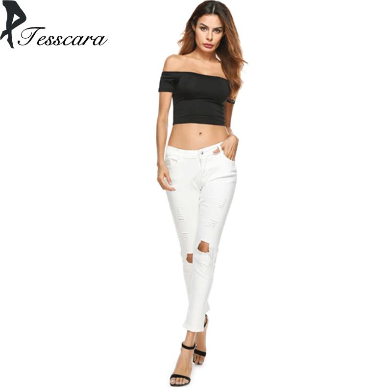 Women Spring Autumn Hole Shinny Sexy Jeans Low Waist Elasticity Pencil Pants Capris Female New Plus Size White Cheap Bottom