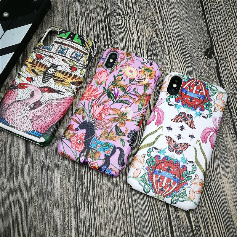 Italy Luxury GG flower case for iphone X XS MAX XR 8 7 6 6S plus plastic phone cover hard leather swan butterfly fundas coque