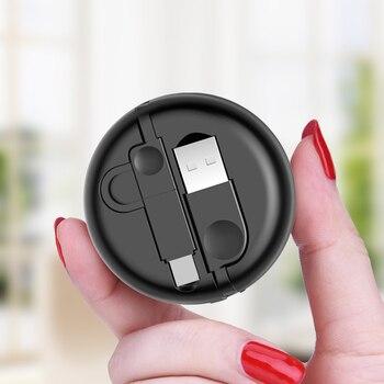 Oatsbasf 100 cm 2 w 1 Zwijany Kabel USB 8 Pin dla iPhone 5S 6 s 7 Plus z Mikro kabel USB do Samsung Szybkie Ładowanie