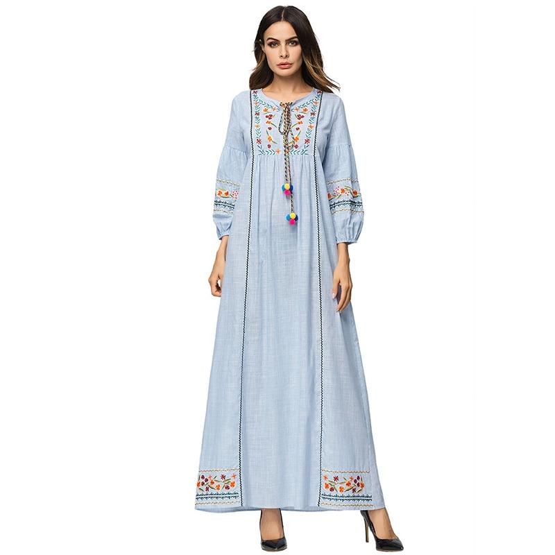 a936392c18 Vintage Maxi Dress Thailand India Nepalese Style Cotton Boho Long Dress  White Deep V Neck Long Sleeve Embroidery ...