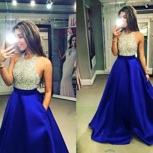 2019 Halter Sequins and Beaded Bodice A Line   Prom     Dress   For Party Custom Made Evening Gown Vestido De Festa