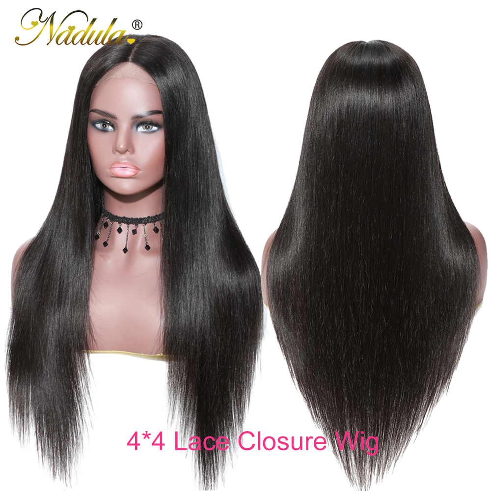 Nadula Hair 4*4 Lace Closure Wig Brazilian Straight Human Hair Wig For Women 12-24inch Remy Hair Lace Wig Natural Color
