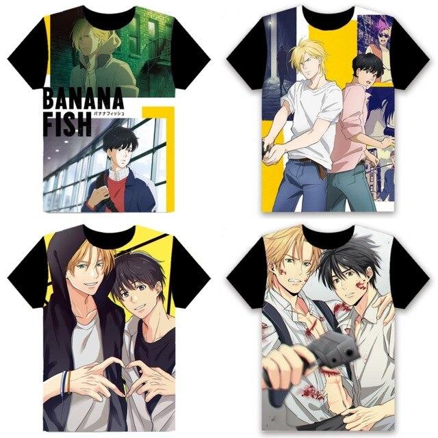 Banana Fish Anime T Shirts Short Sleeve Manga Ash Lynx Eiji Okumura