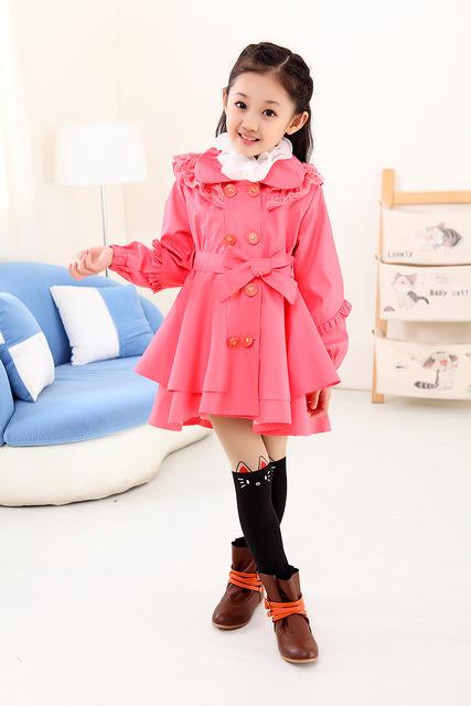 Retail 1 unid venta caliente niños del otoño del resorte prendas de vestir exteriores de los bebés de doble botonadura chaqueta flor envío gratis