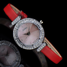 Ladies Wrist Watch Quartz Hours Best Fashion Dress Korea Bracelet Brand Leather Clock CZ Round JA589
