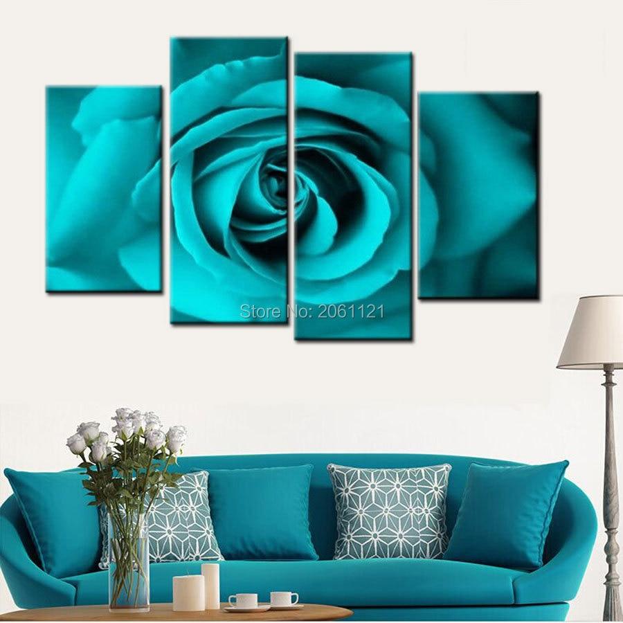 Peinture à l'huile abstraite peinte à la main sur toile bleu vert turquoise fleurs photo moderne rose peinture décorations pour la maison ensembles