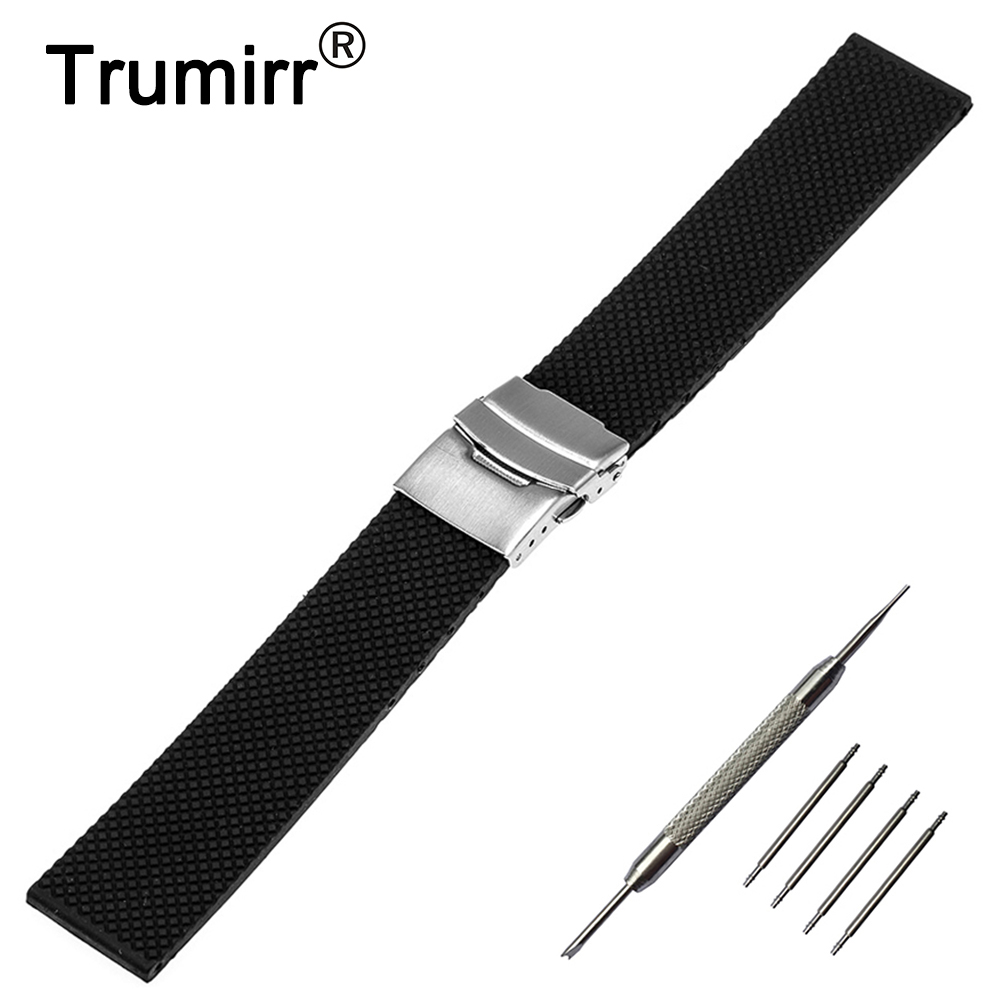 20mm 22mm 24mm Silicone Rubber Watch Band + Tool for Breitling Stainless Steel Safety Buckle Strap Wrist Belt Bracelet Black stainless steel watch band 22mm 24mm for breitling butterfly buckle strap wrist belt bracelet black silver spring bar tool