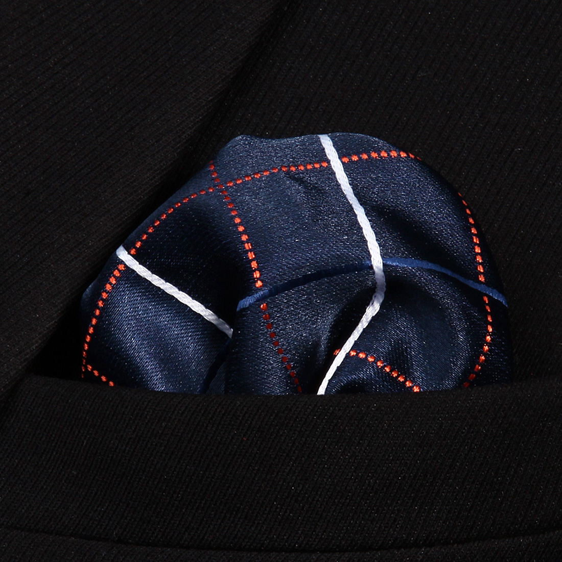 HC805V Blue Check Men 100% Silk Party Handkerchief Pocket Square Hanky