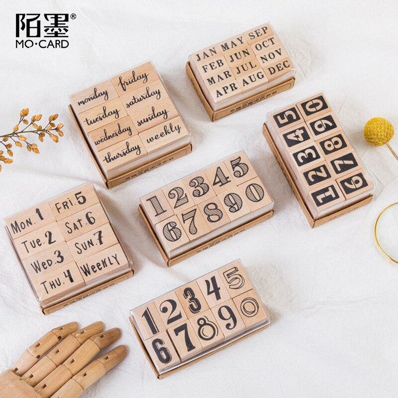 Vintage Number Weeks Month Time Planner Stamp DIY Wooden Rubber Stamps For Scrapbooking Stationery Scrapbooking Standard Stamp