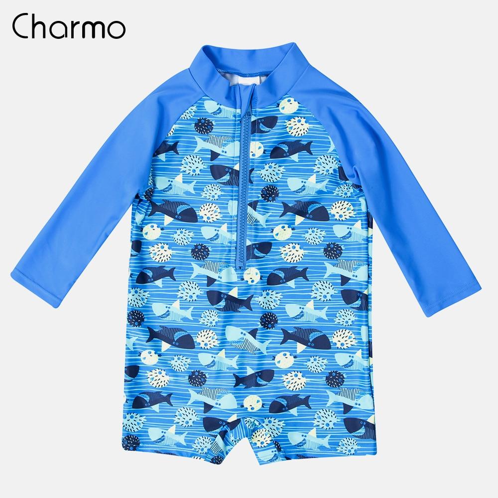 Charmo One-Piece Baby Boy's Zipper Swimwear Fish Printed Rashguard Swimsuit Child Long Sleeve Rash Guard UPF 50+ Beach Wear