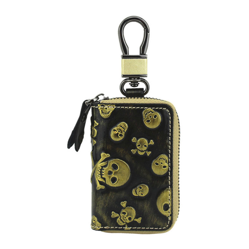 купить Yesello Leather Car Key Bag Fashion Skull Pattern Leather Car Key Chain Zipper Key Case по цене 379.43 рублей