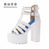 New Spring Women Sandals Gladiator Casual Peep Toe High Heels Shoes Fashion Women Narrow Band Buckle Strap High Heel Sandals
