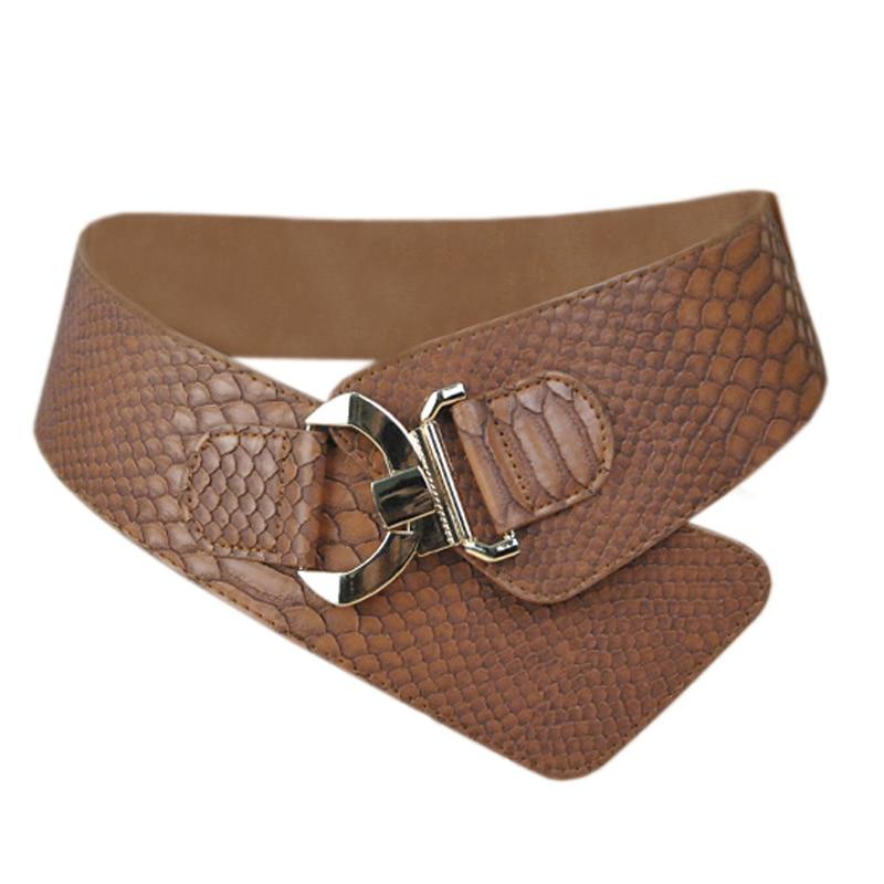 10PCS/LOT SINGYOU Belt For Women Faux Leather Snakeskin Pattern Elastic Belt For Dress Luxury Design Ladies Girls Cummerbund