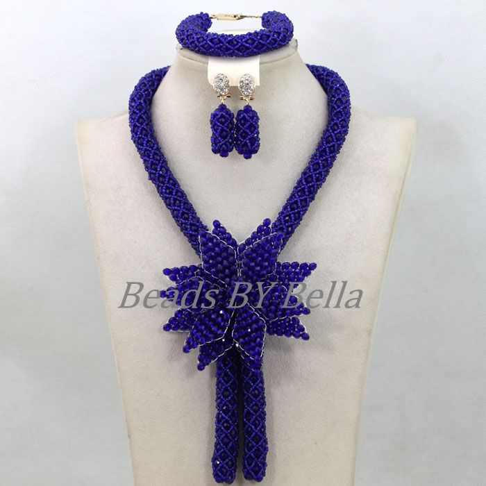 Royal Blue Costume African Jewelry Sets Gold Seed Beads Crystal Braids Wedding Necklace Set Big Flower Free Shipping ABK582