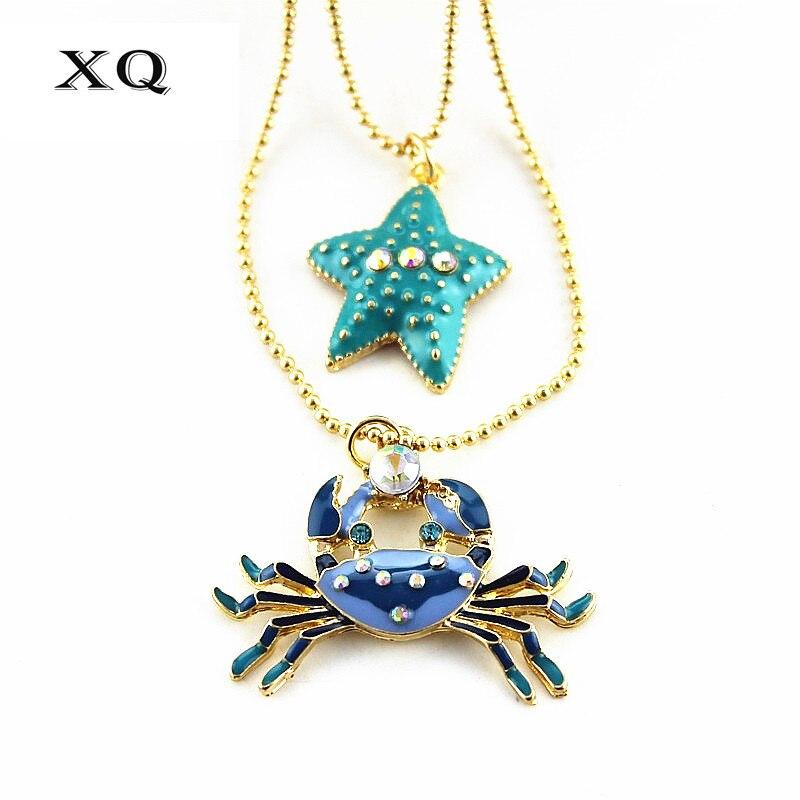 XQ módní šperky náhrdelník dvojitý smalt hvězdice krab roztomilý dárek velkoobchod