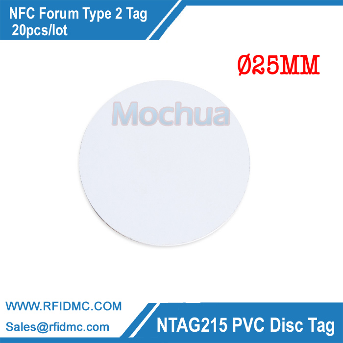 NTAG215 Disc Tag PVC with NFC Round Tag for All NFC Enabled Device-20pcs/lot 13 56mhz nfc ntag215 tag ntag215 disc tag pvc with self adhesive for tagmo